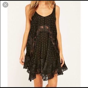 Free People Black Lace Slip Dress
